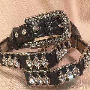 Leather and crystals belt NWOT